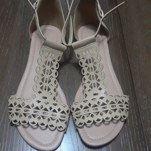 Shoes - Beige t-strap sandals size US10